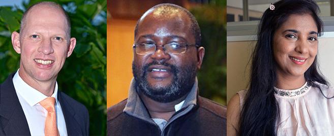 From left: Professor Theuns Pelser, Dr MacDonald Kanyangale and Dr Bibi Chummun.